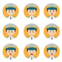 avatar pilote masculin avec diverses expressions