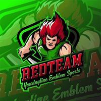 Redteam esports badges de logo de jeu humain
