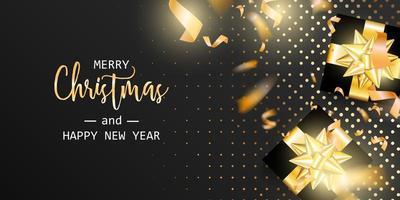 bannière de vacances avec des cadeaux noirs avec des arcs d'or vecteur