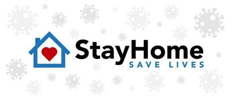 rester à la maison sauver des vies bannière de coronavirus
