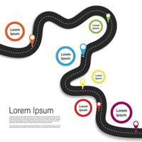 infographie de route sinueuse avec des icônes colorées