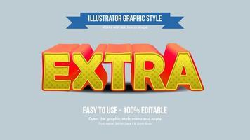Perspective 3D effet de texte caricatural jaune et rouge vecteur