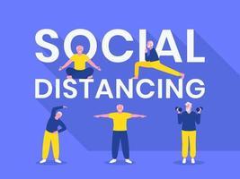typographie de distanciation sociale avec des hommes âgés