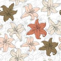 fleurs lilly vintage vecteur