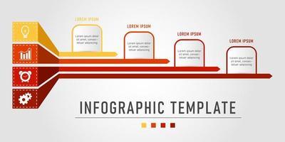 modèle infographique d'affaires rouge et jaune vecteur