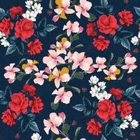 hibiscus, magnolia blanc et fleurs de lys vecteur