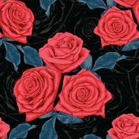 grandes fleurs roses rouges vecteur