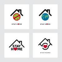 Restez à la maison avec des formes de globe et de maison