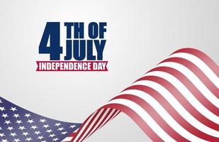 4 juillet affiche avec agitant le drapeau américain