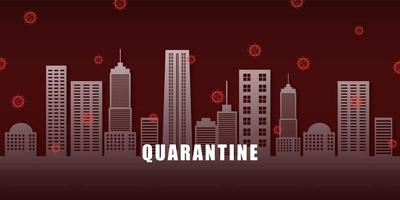 ville de quarantaine entourée de cellules de coronavirus rouges