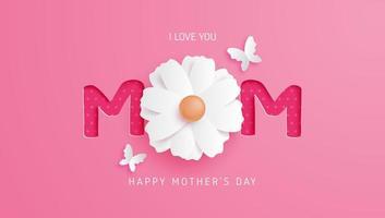 typographie maman rose avec fleur comme lettre o vecteur