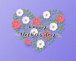 affiche de la fête des mères avec coeur fleur et feuille vecteur