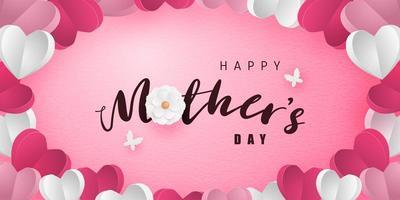 calligraphie de la fête des mères dans le cadre de coeur art papier vecteur