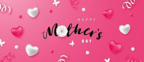 bannière de fête des mères heureuse avec coeurs et confettis vecteur