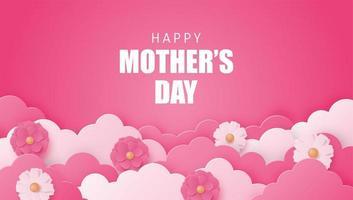 affiche de la fête des mères avec des nuages et des fleurs en couches vecteur