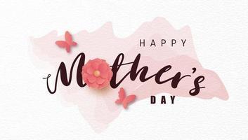 affiche de la fête des mères avec fleur en papier sur aquarelle vecteur