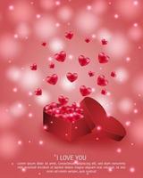 affiche de la Saint-Valentin avec des coeurs s'élevant de la boîte de coeur