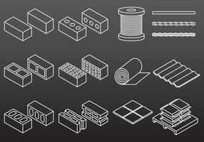 Icônes de matériaux de construction vecteur