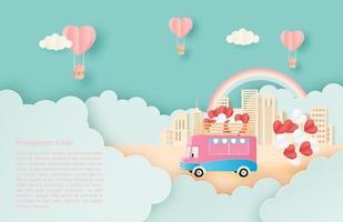 papier art rv tirant des ballons coeur parmi les nuages