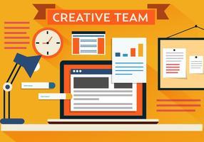 Bureau d'équipe créatif vectoriel gratuit
