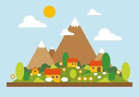 Illustration vectorielle de paysage de montagne