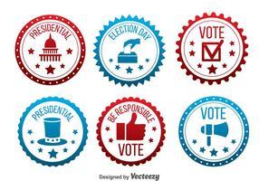 Rouge et bleu Élection présidentielle Badge Vector