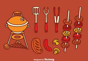 Ensemble de vaisselle barbecue vecteur