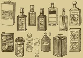 Bouteilles et boîtes d'huile vintage vecteur