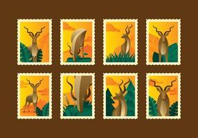 Vecteur de timbre kudu rétro