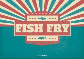 Illustration rétro de poisson frit vecteur