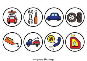 Icônes de cercle de réparation de voiture vecteur