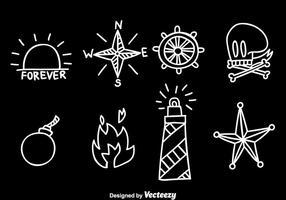 Vecteur de tatouage de l'école ancienne dessiné à la main