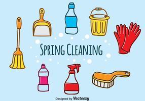 Vecteur de nettoyage de printemps tiré à la main