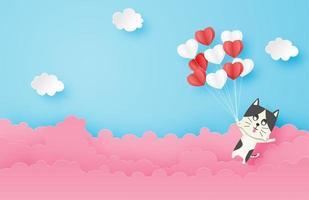 chat flottant dans le ciel avec des ballons coeur