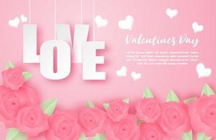 Bannière d'amour de la Saint-Valentin avec fleur rose dans un style papier découpé vecteur