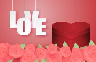 bannière de la Saint-Valentin avec boîte-cadeau en forme de coeur