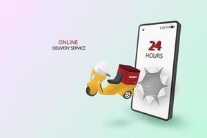 scooter de livraison en ligne éclatant à travers l'écran du smartphone vecteur