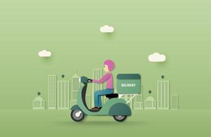 service de livraison en ligne conduite de scooter vecteur
