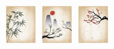 ensemble d'affiche vintage japonaise imprimée à la main vecteur