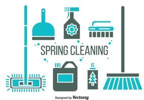 Vecteur d'icônes de nettoyage de printemps
