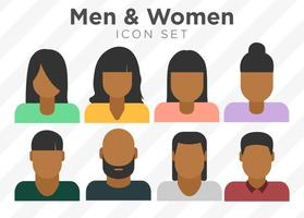 Ensemble vectoriel d'icônes personnelles colorées