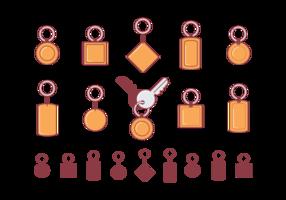 Porte-clés Icônes plates vecteur