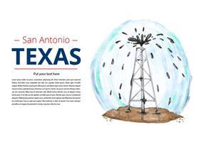Vecteur d'aquarelle gratuite de pétrole au Texas