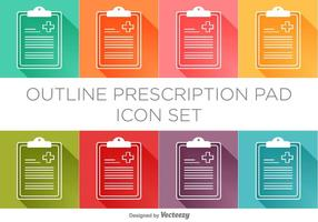 Ensemble d'icônes de coquille de prescription vectorielle vecteur