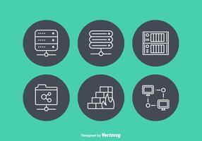 Icônes vectorielles de serveurs réseau gratuits vecteur