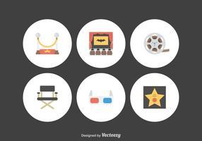 Icônes libres de vecteurs de films plats vecteur