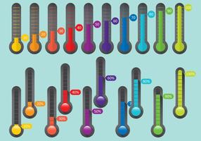 Thermomètres en pourcentage colorés vecteur