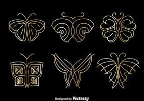 Ensemble de vecteur de logo papillon d'or