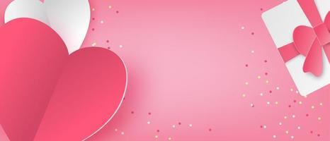 bannière d'amour dans le style de papier découpé vecteur