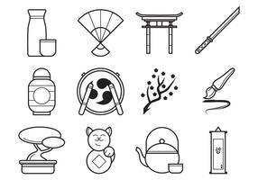 Pack japonais gratuit de vecteurs d'icônes vecteur
